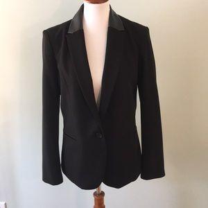 Black Size 10 DKNY Blazer Jacket W/ Faux Leather